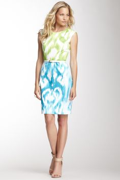 Printed Cap Sleeve Dress in Lime and Blue
