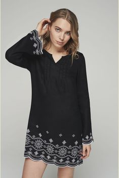 132c2503305a Tall Women s Embroidered Linen Kaftan in Black White - Size 6 at Long Tall  Sally