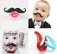 (2 Pack)BeautyMood Baby Funny Dummy Kissable Mustache Pacifier Novelty Teeth Children Lip Soother Nipple Cute - For Boys and Girls, and Infants and Toddlers of any Age