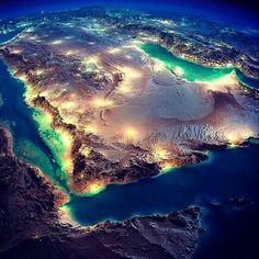 Kingdom of Saudi Arabia Earth At Night, Geography Map, Moon Pictures, Earth From Space, Aerial Photography, Saudi Arabia, Planet Earth, Mother Earth, Geology