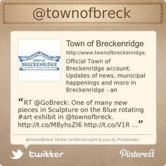 The Town of Breckenridge, Colorado is on Twitter @townofbreck's Twitter profile courtesy of @Pinstamatic (http://pinstamatic.com)
