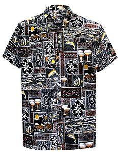 f5db93b82 Button Down Summer Casual Tropical Pocket Hawaiian Aloha Beach Shirts for  Men Resort. La Leela