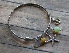 Starfish Bangle Bracelet Anchor Bracelet by designchickcreations
