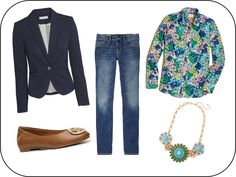 Preppy Fashion for Fall Fall 2014 Casual Prep Outfit Navy Blazer, Printed Button-Up, Ballet Flat, Denim www.thestylishsteed.com