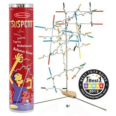 Try the Family Game Suspend & You'll Be Hooked: The family game comes with twenty-four notched, rubber-tipped wire pieces to hang from a tabletop stand. Sound easy, right? Try adding another piece and then another. Each time a bar is added, the balance shifts, the difficulty changes and the incredible midair sculpture transforms. Until…