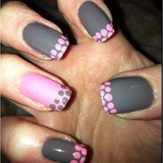 Pink and grey with matching polka dot tips