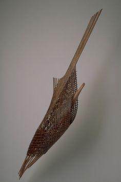 Flight 2000, Cedar, copper, mixed media, 110 x 94 x 11 inches,  Fritz Dietel Sculpture