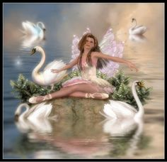 Swan Lake by on DeviantArt My Fantasy World, Fantasy Art, Fairy Land, Fairy Tales, Fairy Music, Unicorn And Fairies, Types Of Fairies, I Believe In Angels, Beautiful Fairies