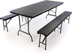 Tolle Sitzgarnitur  Farbe: schwarz Diese schwarze Klappgarnitur sticht mit ihrem edlen Design in Rattanoptik hervor. Der Tisch und die Bänke sind im Handumdrehen aufgebaut. Auch zur Party können Sie dieses Set mitnehmen, dank des integrierten Tragegriffs ist es leicht zu transportieren. Wird die Partygarnitur nicht mehr benötigt lässt sie sich einfach zusammenklappen und platzsparend verstauen.Das Material ist pflegeleicht und lässt sich einfach abwischen. Somit ist sie sowohl für Innen- als… Picknick Set, Picnic Table, Outdoor Furniture, Outdoor Decor, Sun Lounger, Home Decor, Material, Products, Chaise Longue