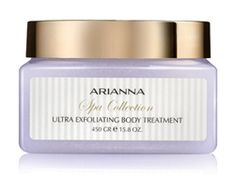 Arianna Spa Collection Ultra Exfoliating Body Treatment.  This just leaches the toxins right out of your skin!  My skin feels fantastic after use.  Use with the Ultra Rich Mineral Body Butter and feel like a pampered goddess!