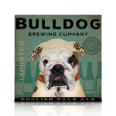 English Bulldog Brewing Company original graphic illustration art on gallery wrapped canvas by Stephen Fowler