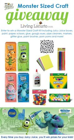 A Monster Sized Craft Giveaway! Win a fun kit full of awesome craft supplies and Monsters University Juicy Juice Boxes. LivingLocurto.com #giveaway