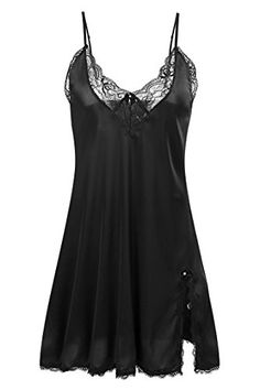 Ekouaer Womens Satin Slip Chemise Silk NightgownBlackXS >>> You can find more details by visiting the image link.