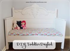 DIY toddler daybed made from an antique 3/4 bed. Painted