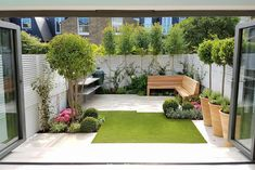 15 charming small gardens that you should see before the spring find out create a contemporary garden design with 15 excellent choices! Back Garden Design, Small Backyard Design, Small Backyard Gardens, Small Backyard Landscaping, Modern Garden Design, Backyard Garden Design, Garden Spaces, Backyard Patio, Outdoor Gardens