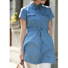 Drawstring Short Sleeve Turn Down Collar Floral Print Single-Breasted Denim Shirt For Women