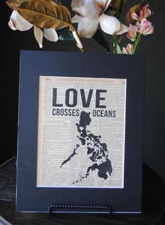 This would be amazing printed on an old bible page or something.  I love this....Love Crosses Oceans Philippines  Vintage by RedeemedTreasures, $15.00