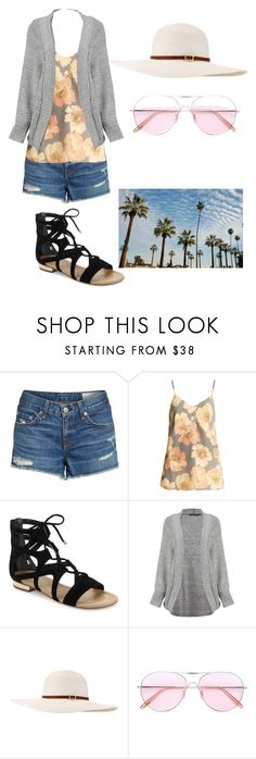 """""""California Dreamin'"""" by goettelan ❤ liked on Polyvore featuring rag & bone/JEAN, Raey, Saks Fifth Avenue, Boohoo, Melissa Odabash and Oliver Peoples"""