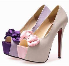 Summer Japanese And Korean Silk Bowknot High Heel Shoes _High-heeled Pumps_Shoes_Wholesale Clothing,Wholesale Cheap Fashion Ladies Clothing,Clothing Wholesaler China.