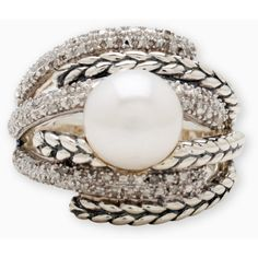 Lord & Taylor Sterling Silver Pearl Ring With Diamond Accents