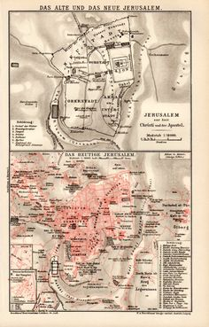 1898 Jerusalem Old City Antique Map Vintage by Craftissimo on Etsy, €13.95
