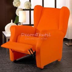 Funda Sillón Relax Naranja TUNEZ, compuestas por 4 piezas, medidas estándar de 70 a 110 cm, tejido elástico, fundasadaptables a cualquier sillón relax.