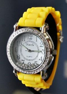Yellow - Jelly watch with rhinestone accents! new!