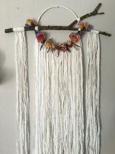 Boho Dreamcatcher - Bohemian - Wedding - Unique by GypsyMoonStore on Etsy Yarn Wall Hanging, Wall Hangings, Embroidery Hoop Crafts, Barn Wood Crafts, Pom Pom Crafts, Diy Artwork, Dream Catcher Boho, Mobiles, Diy And Crafts