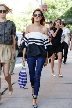 Taylor Tomasi Hill - New York Street Fashion  off the shoulder striped top and skinny jeans. this girl can never do no wrong