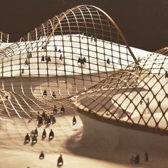 by @conorcoghlan Google campus model. Laser cut, birch ply, gridshell roof structure. Designed with @shaolianghua