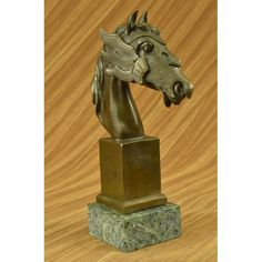 ON SALE !!! Gorgeous Bronze Bust Horse Sculpture European Design By Milo Statue Marble Decor...This Gorgeous Bronze Bust Of A Horse Is Unique And Filled With A Raging Vibe Of Energy. The Horse Seems To Be Excited Or Spooked. He Bends His Head Down Towards His Body As His Hair Flows Upwards As If He Is Bucking And He Opens His Mouth Letting Out A Neigh. This Sculpture Is Beautifully Detailed And Is Sure To Look Great On Any Mantle,Shelf,Or Table. This Sculpture Is 100% Bronze And Is Handmade…