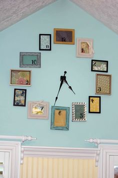 make your own clock - random frames, scrapbook paper, clock movt (take apart an actual clock or buy separately)