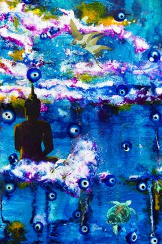 Buddha and the cranes. A print from the Ultra World 1 painting. 15 x 25 inches. contact. jacsfalconer4u@gmail.com