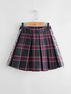 Girls Letter Tape Pleated Plaid Skirt – Kidenhouse Plaid Skirts, Cheer Skirts, Summer Girls, Kids Girls, Preppy, Girl Outfits, Lettering, Tape, Sleeves