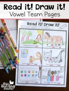 These vowel team read and draw pages are the perfect fit for kids who love to draw. My grader draws on everything. Any printable activity I create for her ends up with drawings all over it. So, I knew that I needed to create some pages for her that al Vowel Activities, Phonemic Awareness Activities, Drawing Activities, Spelling Activities, Literacy Activities, Literacy Centers, Reading Centers, Kindergarten Literacy, Early Literacy