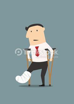 Vektorgrafik : Businessman with broken leg and crutches
