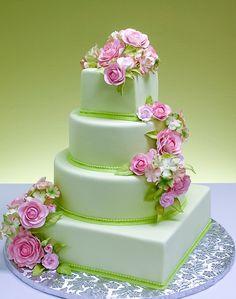 Peonies and hydrangea wedding cake