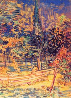 Vincent van Gogh Stone Steps in the Garden of the Asylum, 1889 - by technique - watercolor