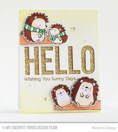 Happy Hedgehogs Stamp Set and Die-namics, Big Hello Die-namics - Melania Deasy  #mftstamps