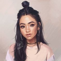 Discover images and videos about Art Girl from all over the world on We Heart It. Pretty Girl Drawing, Pretty Drawings Of Girls, Drawings Of Girls Faces, Hiba Tan, Arte Black, Digital Art Girl, People Art, Drawing People, Art Sketches
