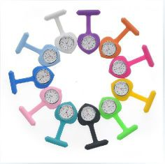 5pcs/set colorful heart shape silicone brooch nurse watch for international nurse's day gift