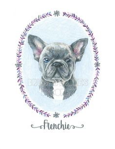 French Bulldog Frenchie Dog Art Print from Original Drawing , Free Personalization , Wall Decor , 8 1/2 x 11 or 8 x 10 Professional quality art print made from original colored pencil drawing, featuring a French Bulldog. Printed on 8 1/2 x 11 thick matte paper with high-quality inkjet ink. Can be framed as 8x10 or 8 1/2 x 11.  Print will come with the word Frenchie printed at the bottom, or can be