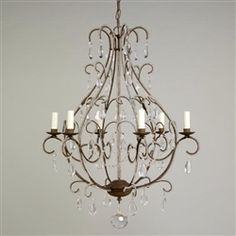 Vaughan Rozier Chandelier Rust with Crystals 6 Lights CLA95/R