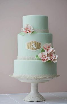 Mint green cake with peach roses and gold quilting monogram || by Erica OBrien Cake Design CT