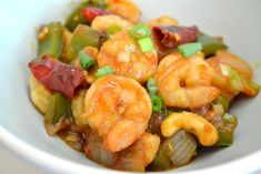 A few weeks ago I made my favorite Chinese dish, Kung Pao Chicken. I liked it so much that I wanted to try it with shrimp. Kung Pao Shrimp with Roasted Cashews I'm so glad I did! Wow, this dish