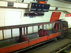 1980s Greenbat mail train used on Mail Rail, AKA the Post Office Railway, the driverless electric railway system that moved post under the streets of London for more than 75 years.