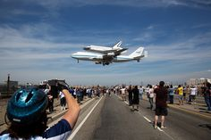 RIP Shuttle Program: The space shuttle Endeavour, atop the Shuttle Carrier Aircraft, or SCA, lands at Los Angeles International Airport on Tuesday, Sept. 2012 in Los Angeles where it will be placed on public display at the California Science Center. Nasa Space Program, Air Space, Image Of The Day, Space Shuttle, Space Travel, Space Exploration, Out Of This World, Science And Nature, Cool Photos