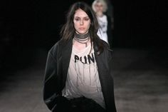Referencing London's punk and Seattle's grunge scenes, Chris Leba's girl gang looked tough and cool in R13's runway debut.