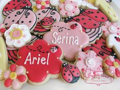 Ladybug Cookie Set with Monogrammed Cookies