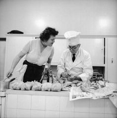 Julia Child watches chef Max Bugnard prepare fish for cooking at Le Cordon Bleu in Paris, where she began her formal culinary studies in 1949. #HappyBirthdayJulia